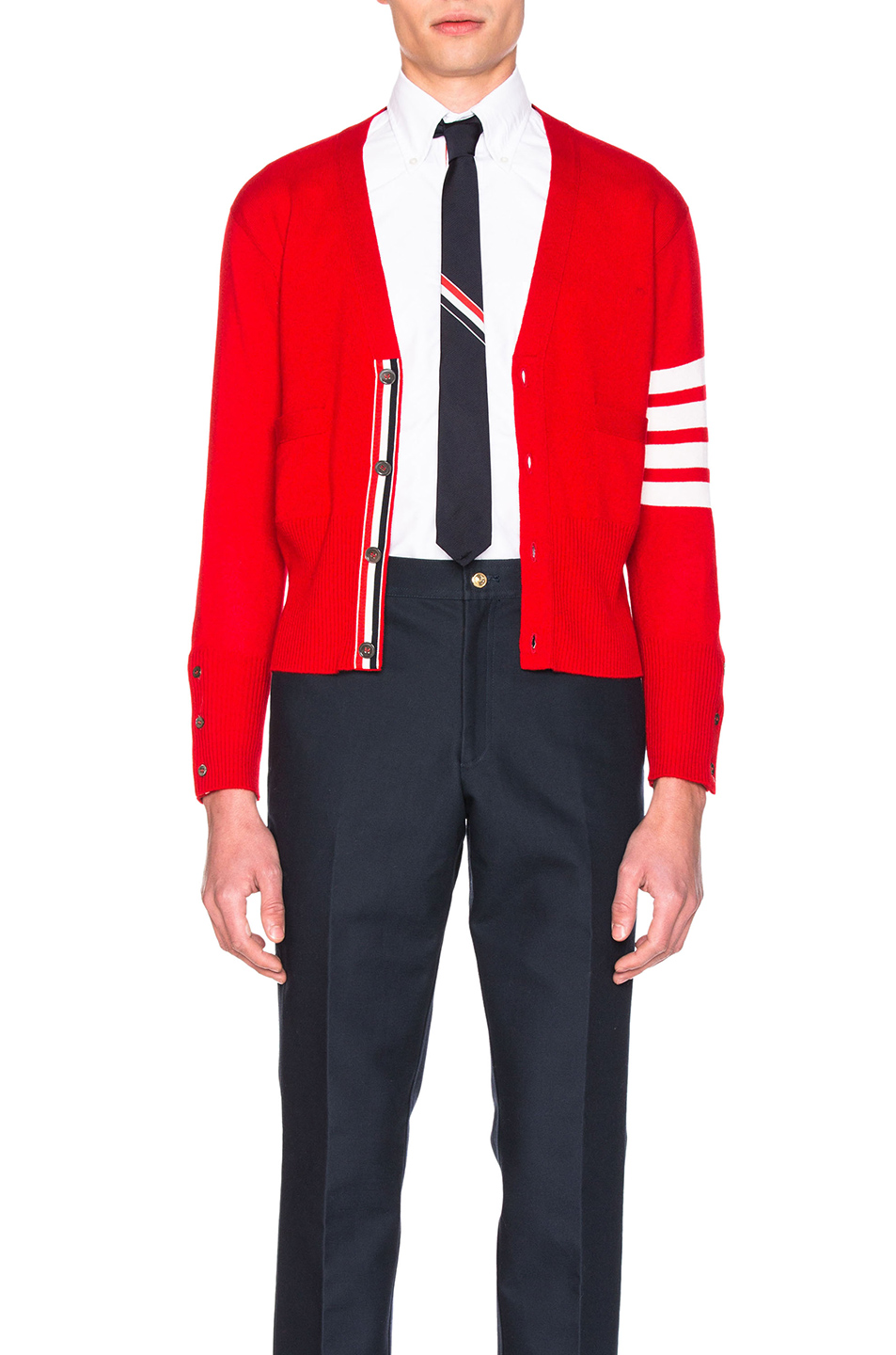 Thom Browne Classic Cashmere Cardigan in Red
