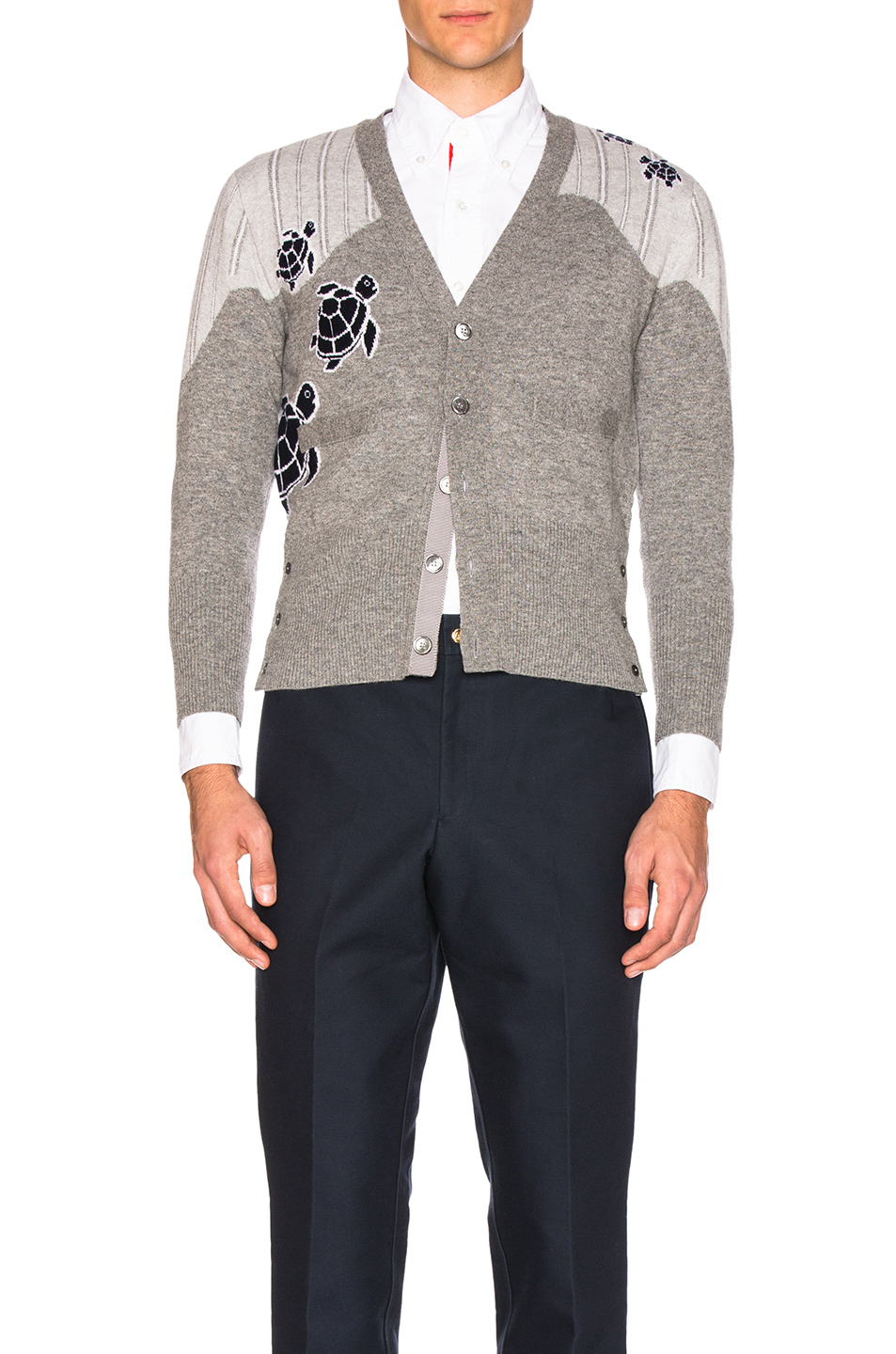 Thom Browne Sea Animal Cashmere Intarsia Cardigan in Gray,Animal Print