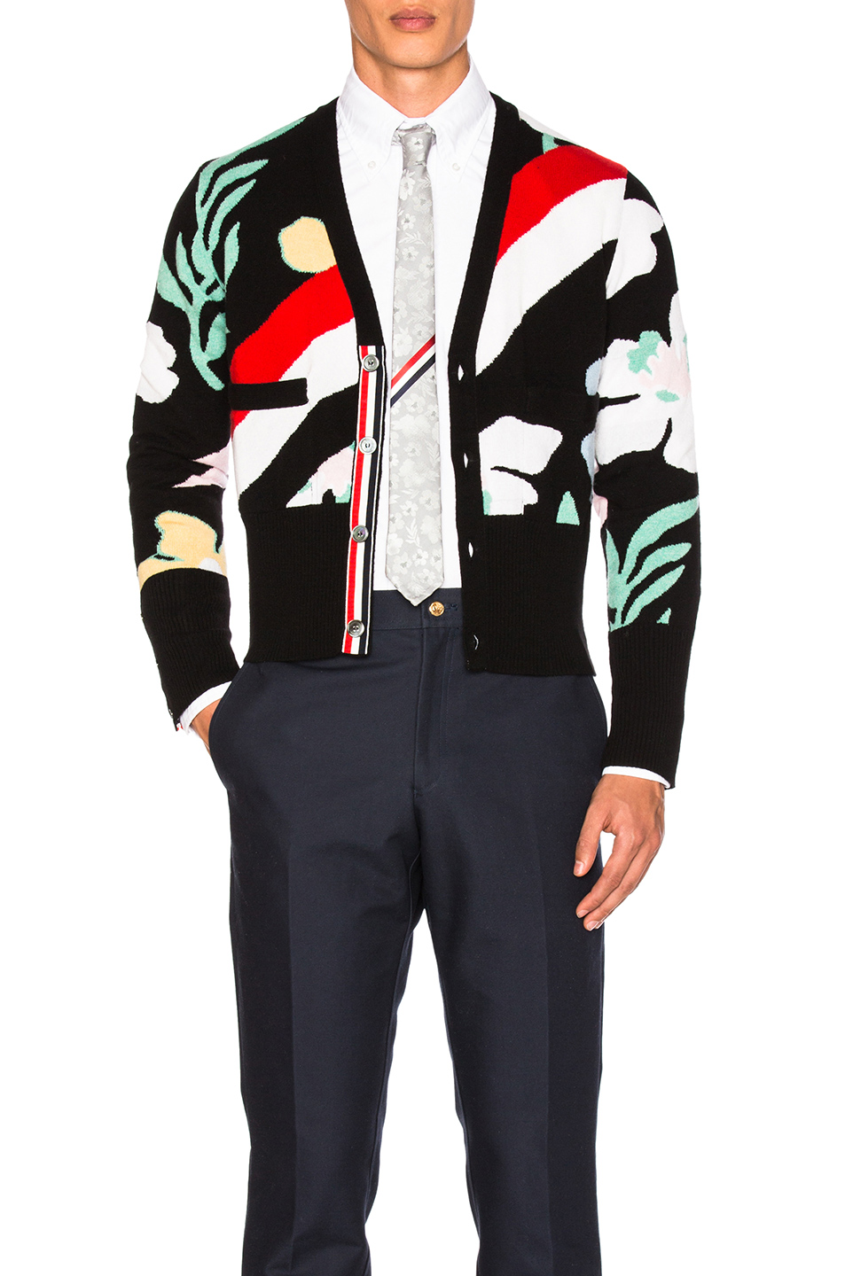 Thom Browne Floral Intarsia Cashmere Cardigan in Black,Abstract,Floral