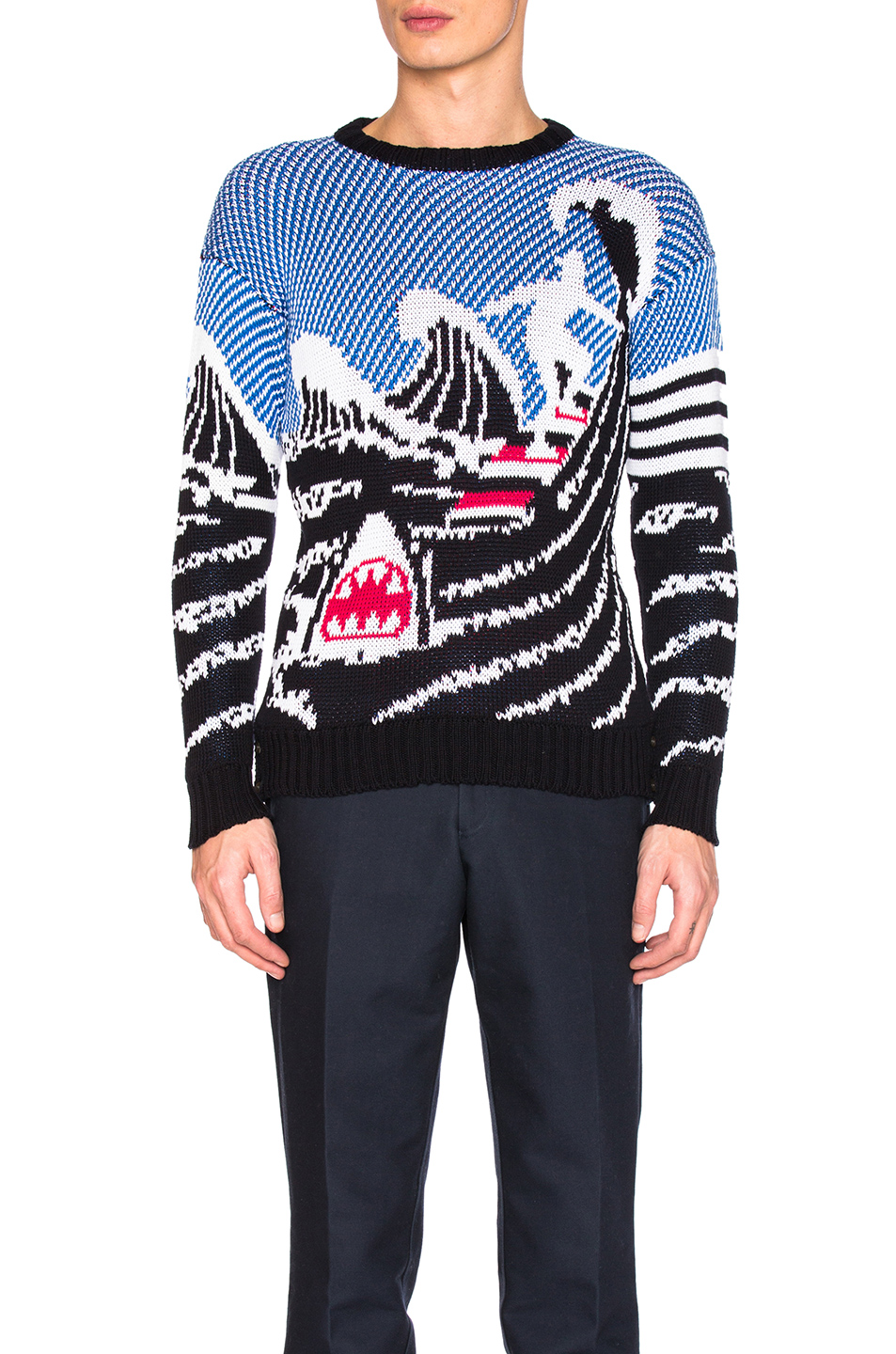 Thom Browne Surfing Scenery Pullover in Blue