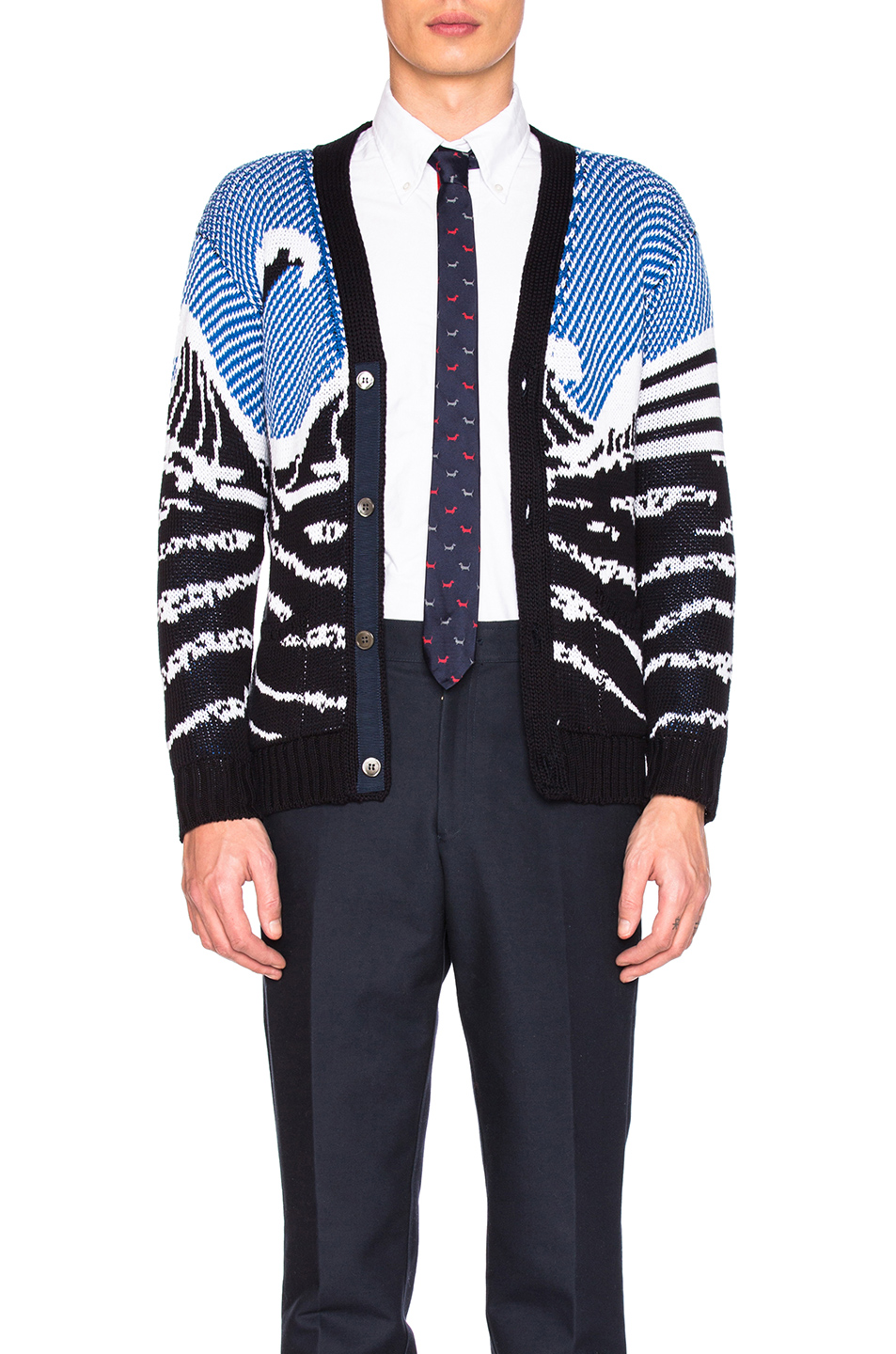 Thom Browne Surfing Scenery Cardigan in Blue
