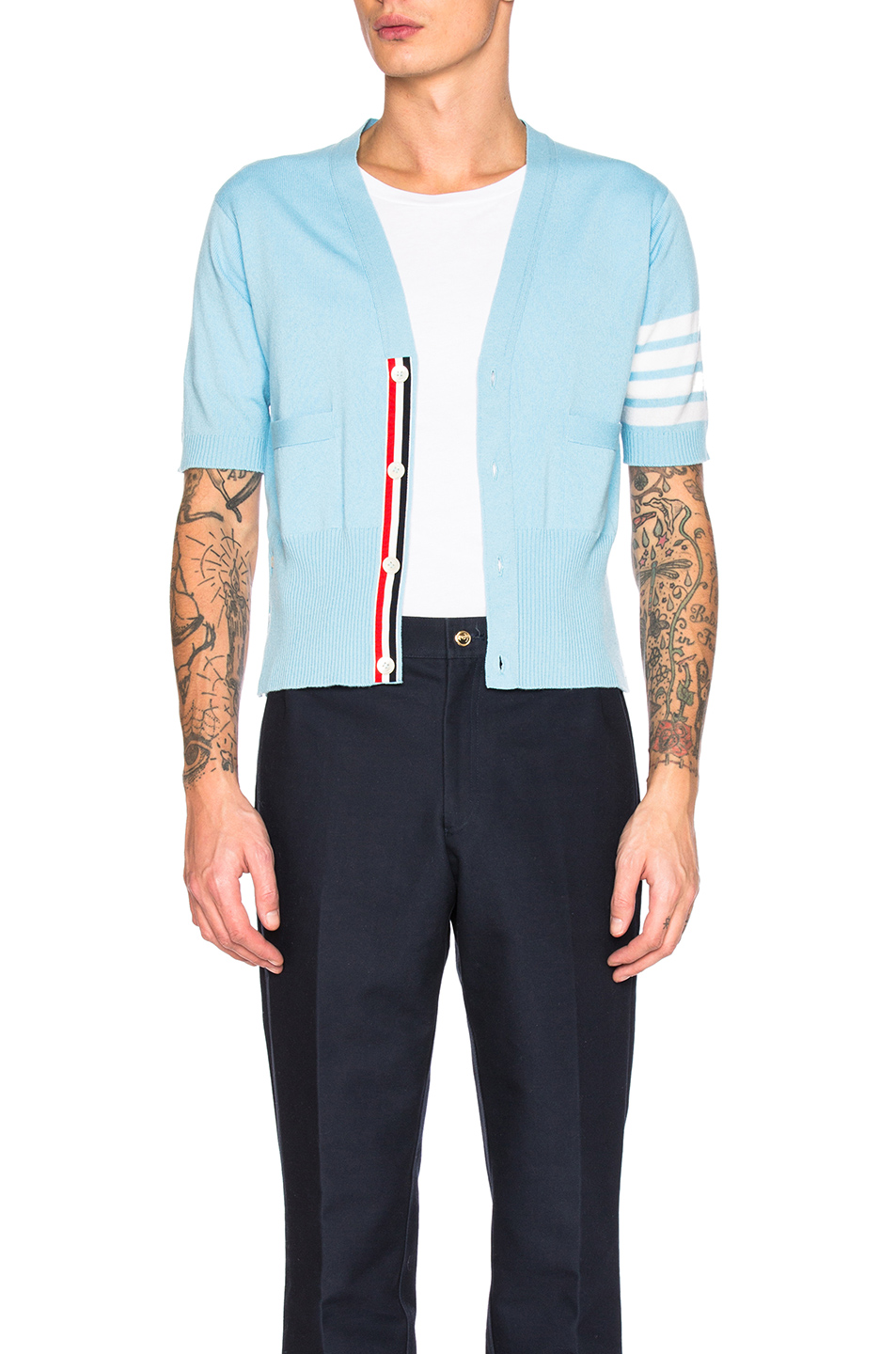 Thom Browne Cashmere Short Sleeve Cardigan in Blue