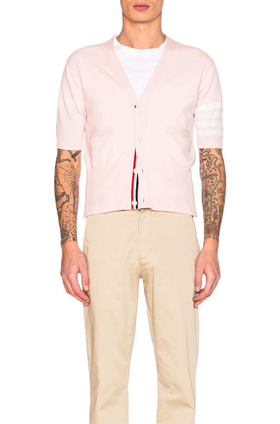 Thom Browne Cashmere Short Sleeve Cardigan in Pink