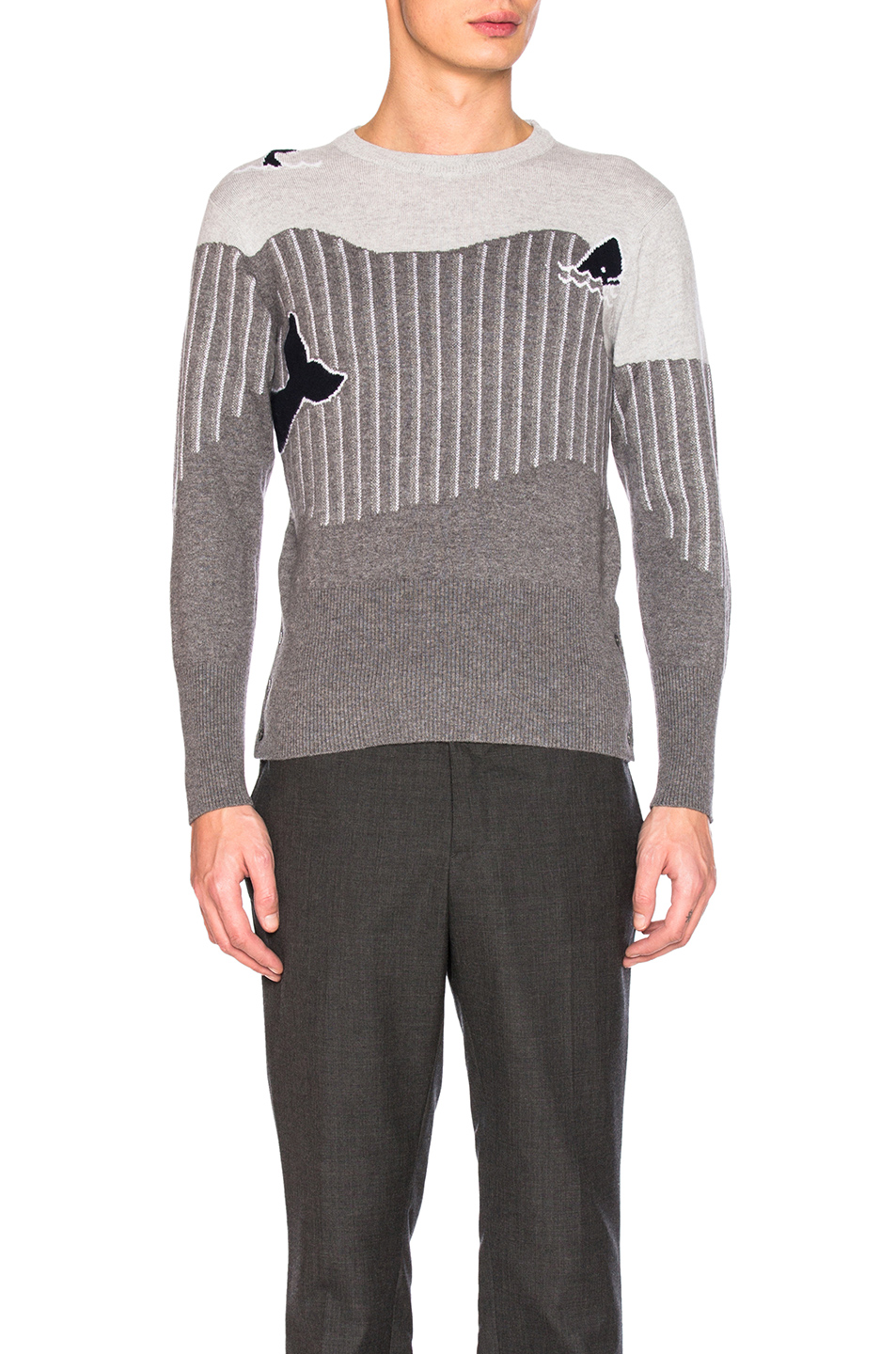 Thom Browne Sea Animal Cashmere Intarsia Sweater in Gray,Stripes