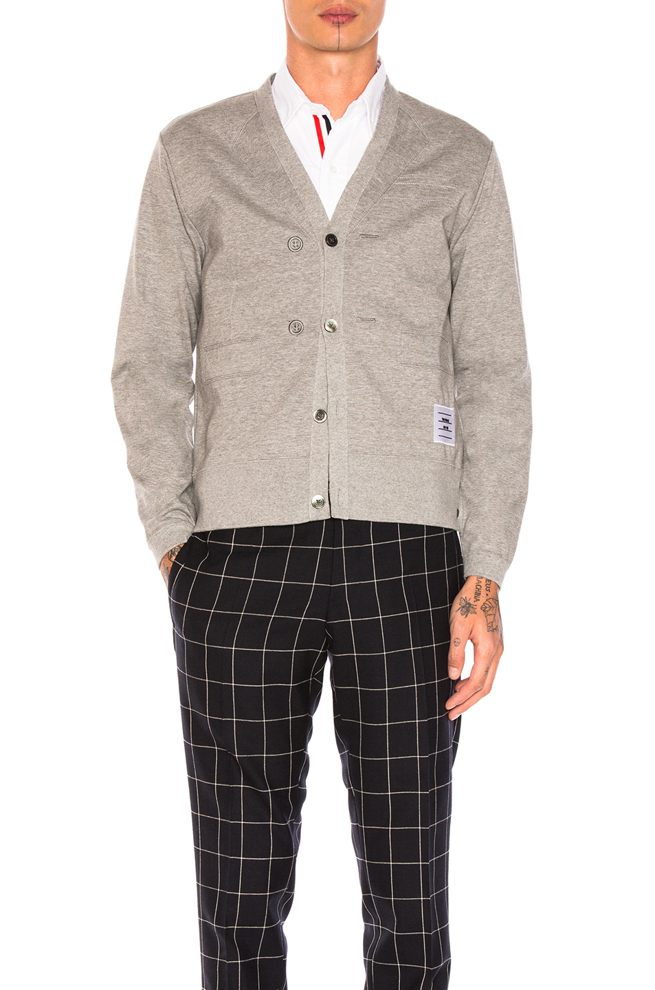 Thom Browne Trompe L'Oeil Sport Coat Cardigan in Gray