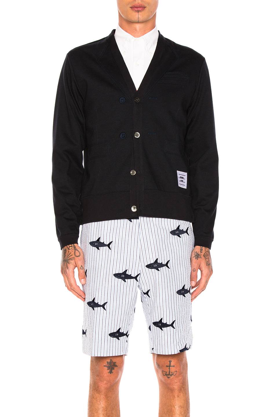 Thom Browne Trompe L'Oeil Sport Coat Cardigan in Blue