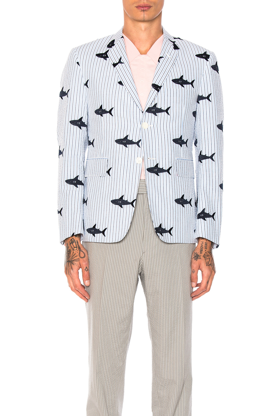 Thom Browne Seersucker Shark Embroidery Blazer in Abstract,Blue,Stripes