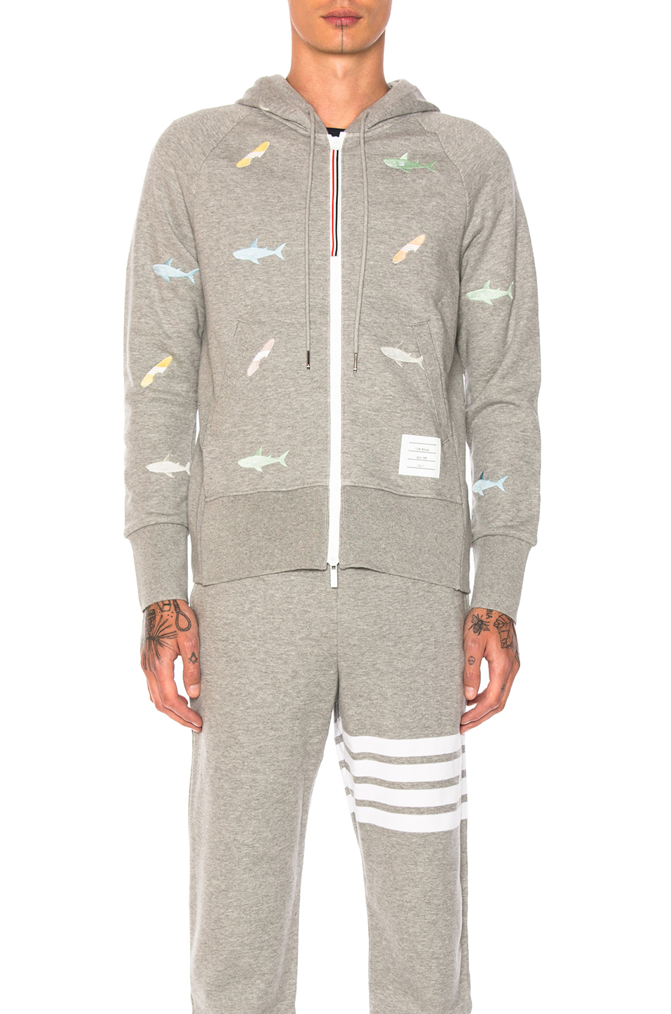 Thom Browne Shark & Surfboard Embroidery Zip Hoodie in Gray