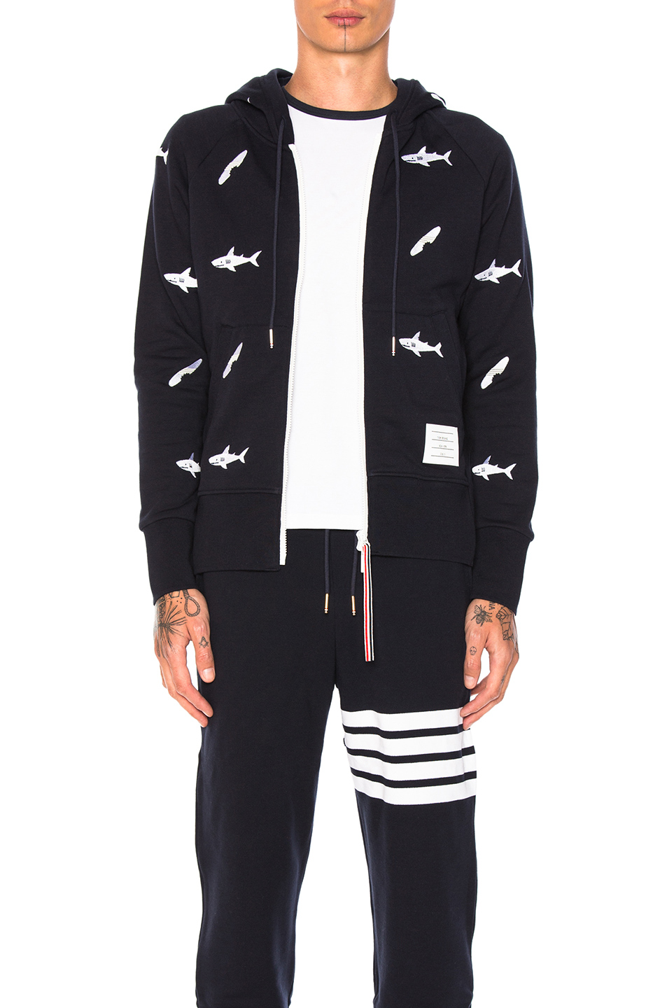 Thom Browne Shark & Surfboard Embroidery Zip Hoodie in Blue