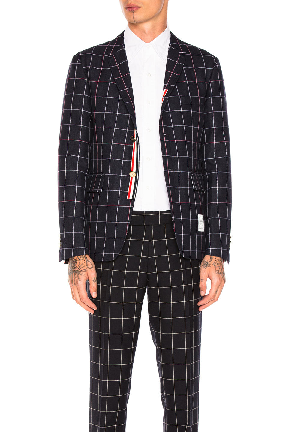 Thom Browne Windowpane Blazer in Blue,Checkered & Plaid
