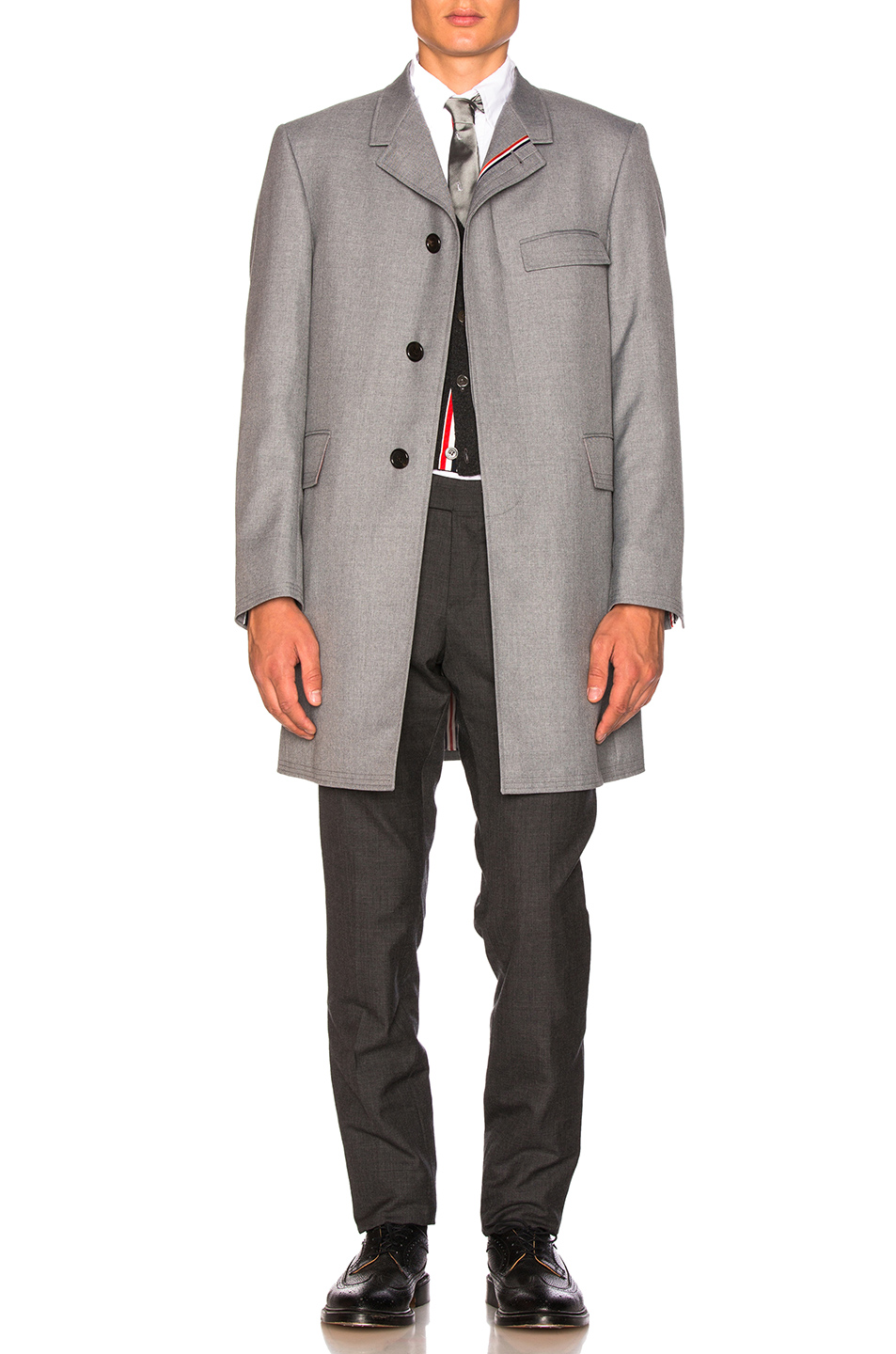 Photo of Thom Browne Classic School Uniform Twill Chesterfield Overcoat in Gray - shop Thom Browne menswear