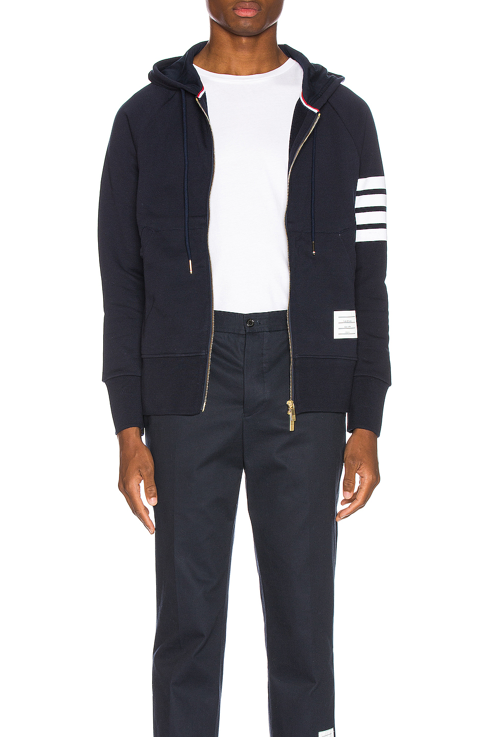Thom Browne Engineered 4 Bar Zip Hoodie in Blue