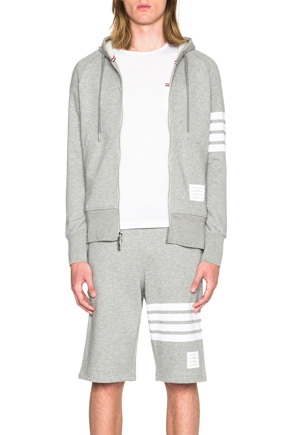 Thom Browne Engineered 4 Bar Zip Hoodie in Gray