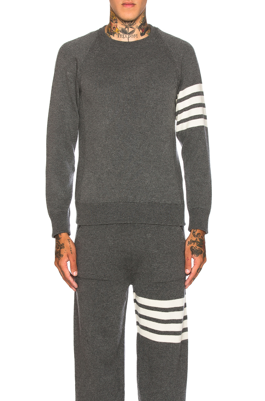 Thom Browne Cashmere 4 Bar Stripe Crewneck Sweatshirt in Gray