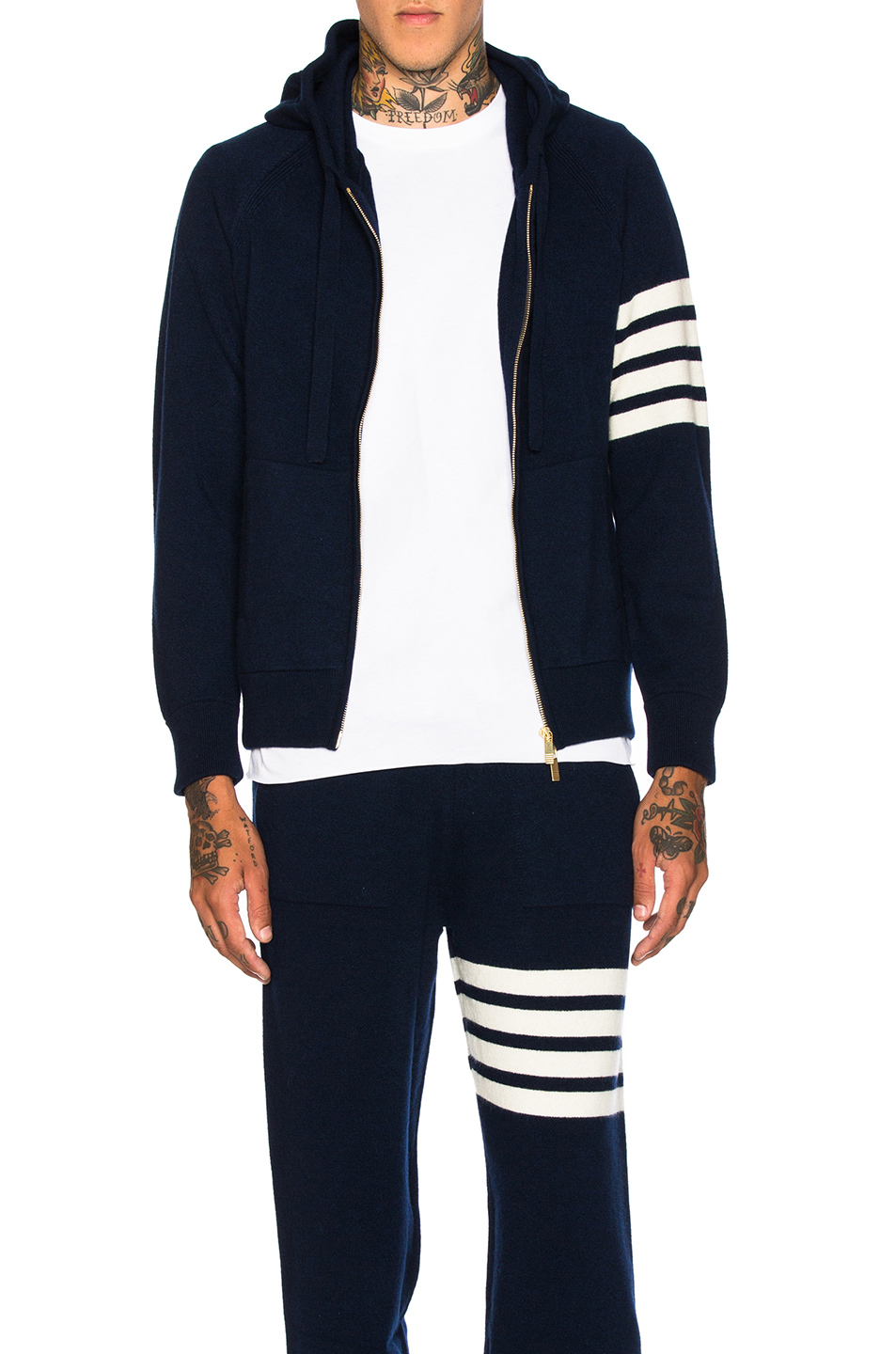 Thom Browne Cashmere 4 Bar Stripe Hoodie in Blue