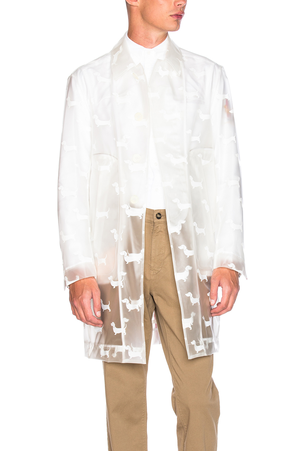 Thom Browne Hector Print Rain Coat in White,Animal Print
