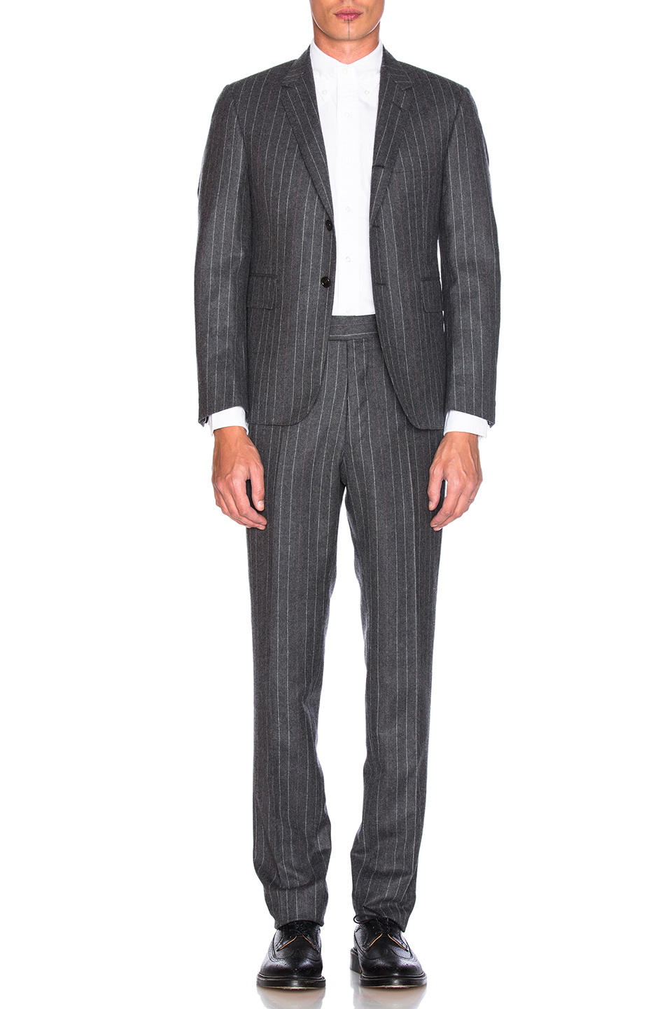 Thom Browne Chalk Stripe Wool Suit in Gray,Stripes