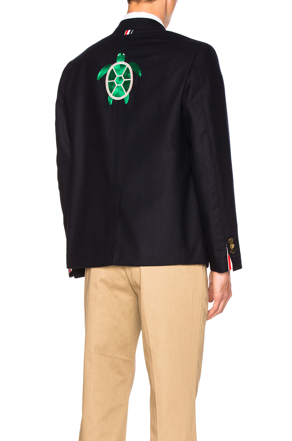 Thom Browne Turtle Icon Embroidery Lightweight Cashmere Blazer in Blue