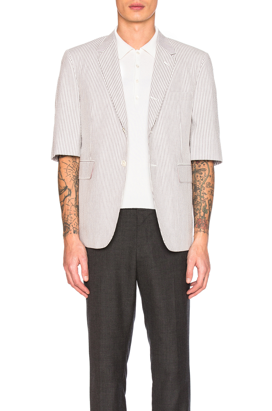 Thom Browne Short Sleeve Seersucker Blazer in Gray,Stripes