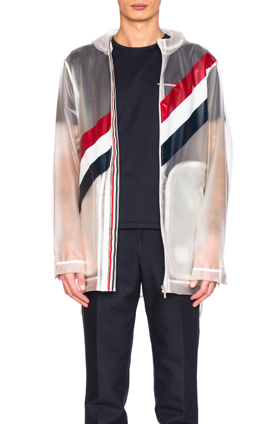 Thom Browne Diagonal Stripe Packable Rain Coat in White