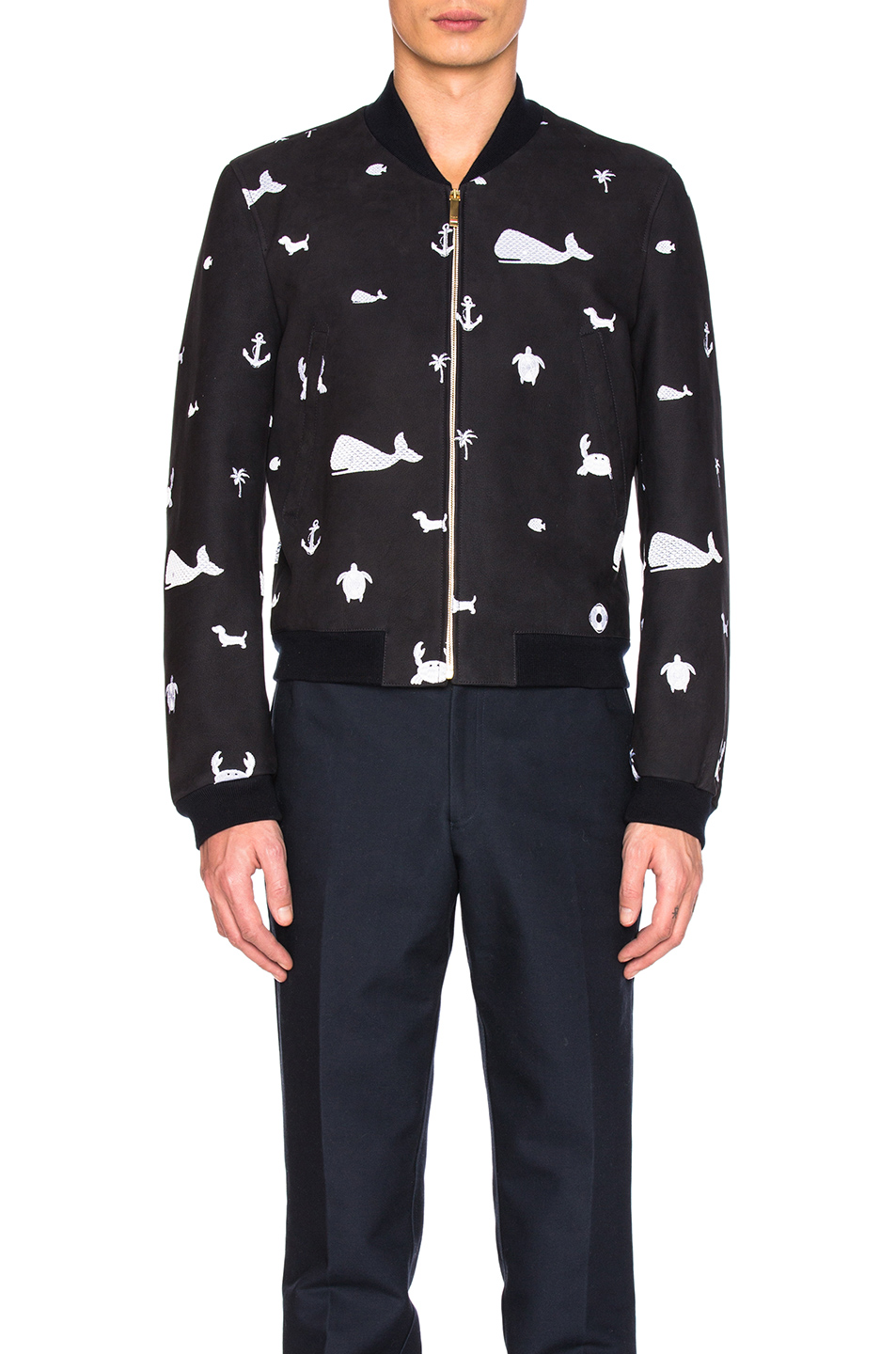 Thom Browne Front Zip Fun Mix Nubuck Bomber in Blue,Animal Print