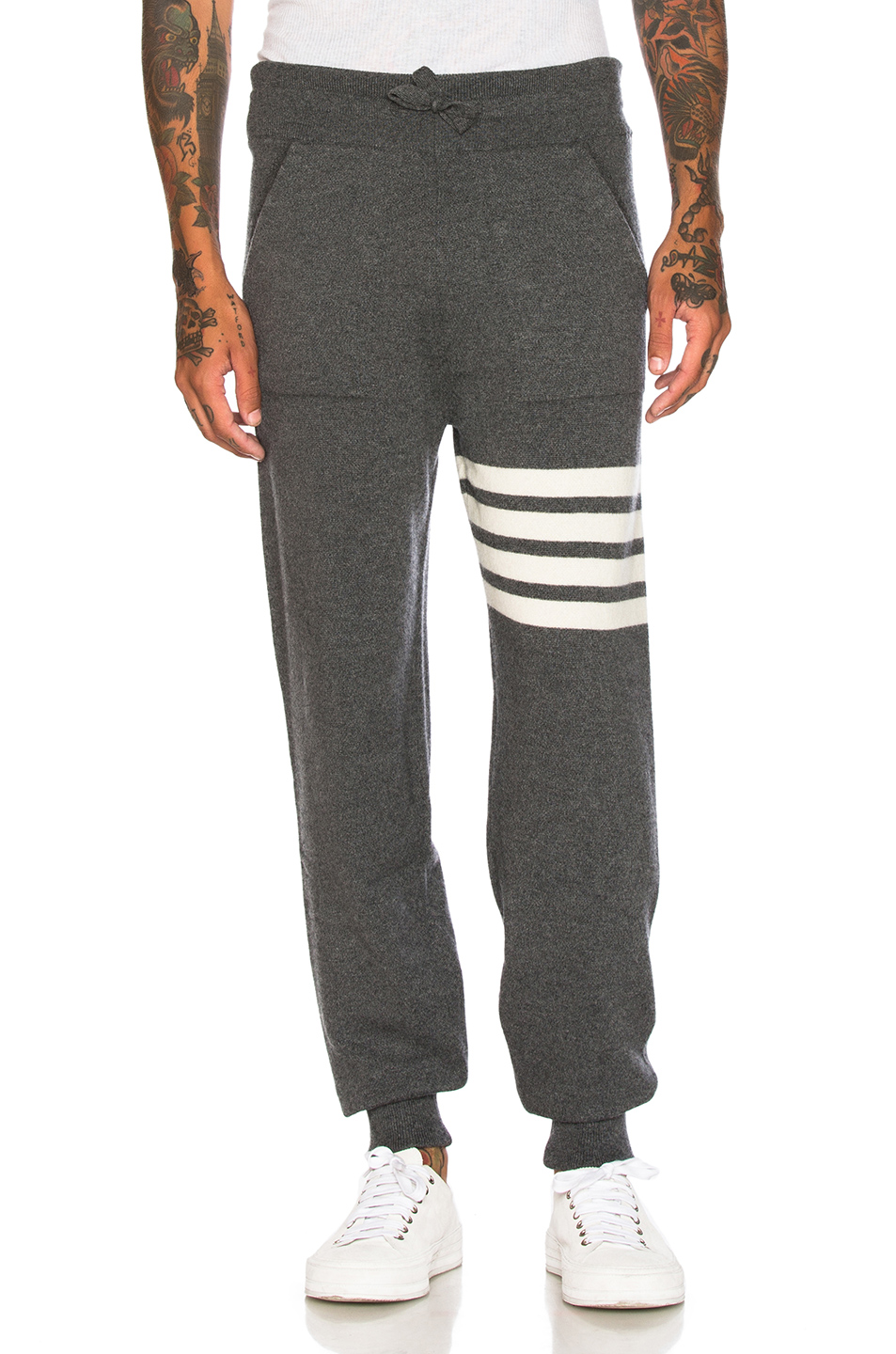 Thom Browne Cashmere 4 Bar Stripe Sweatpants in Gray