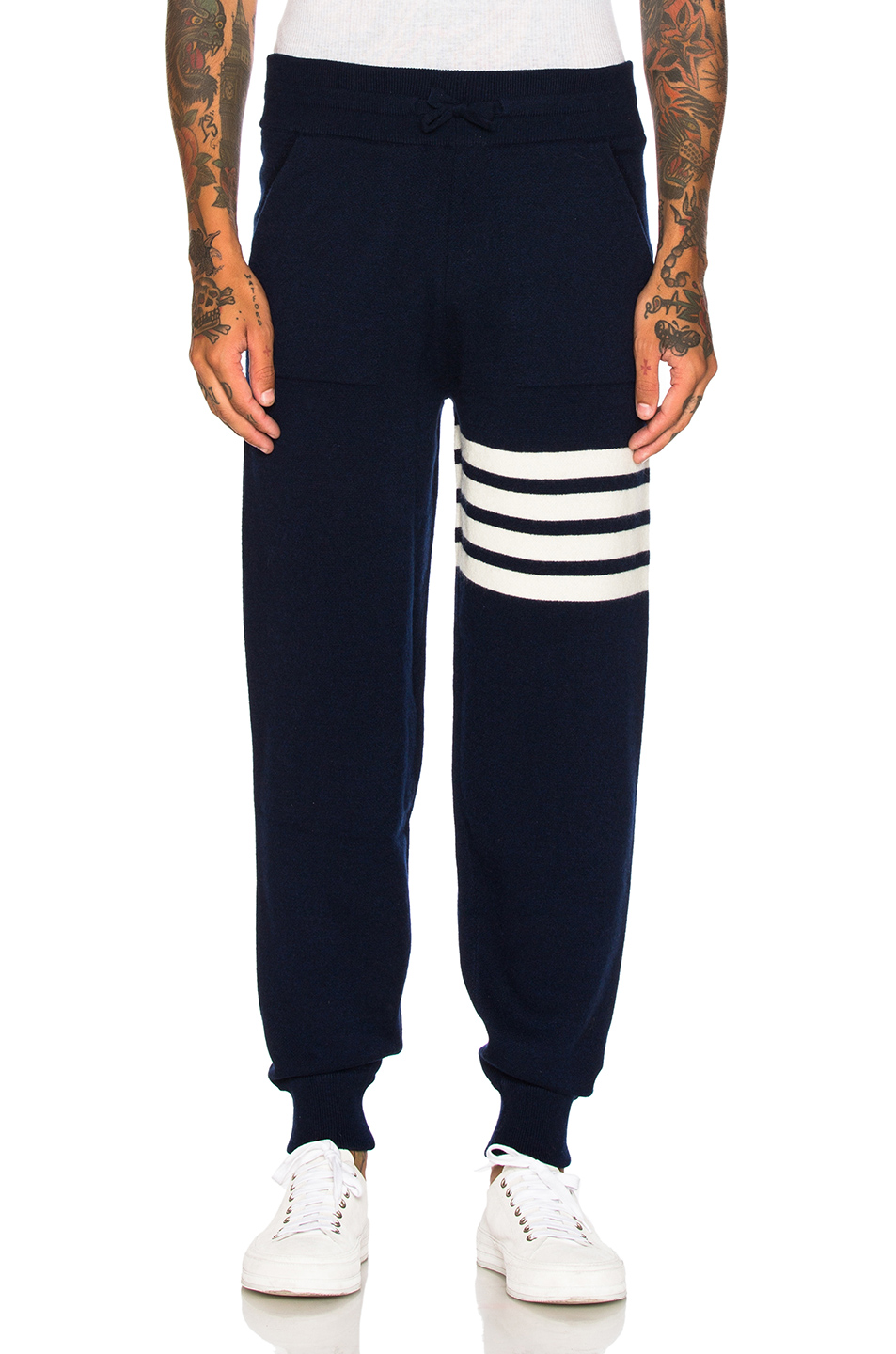 Thom Browne Cashmere 4 Bar Stripe Sweatpants in Blue