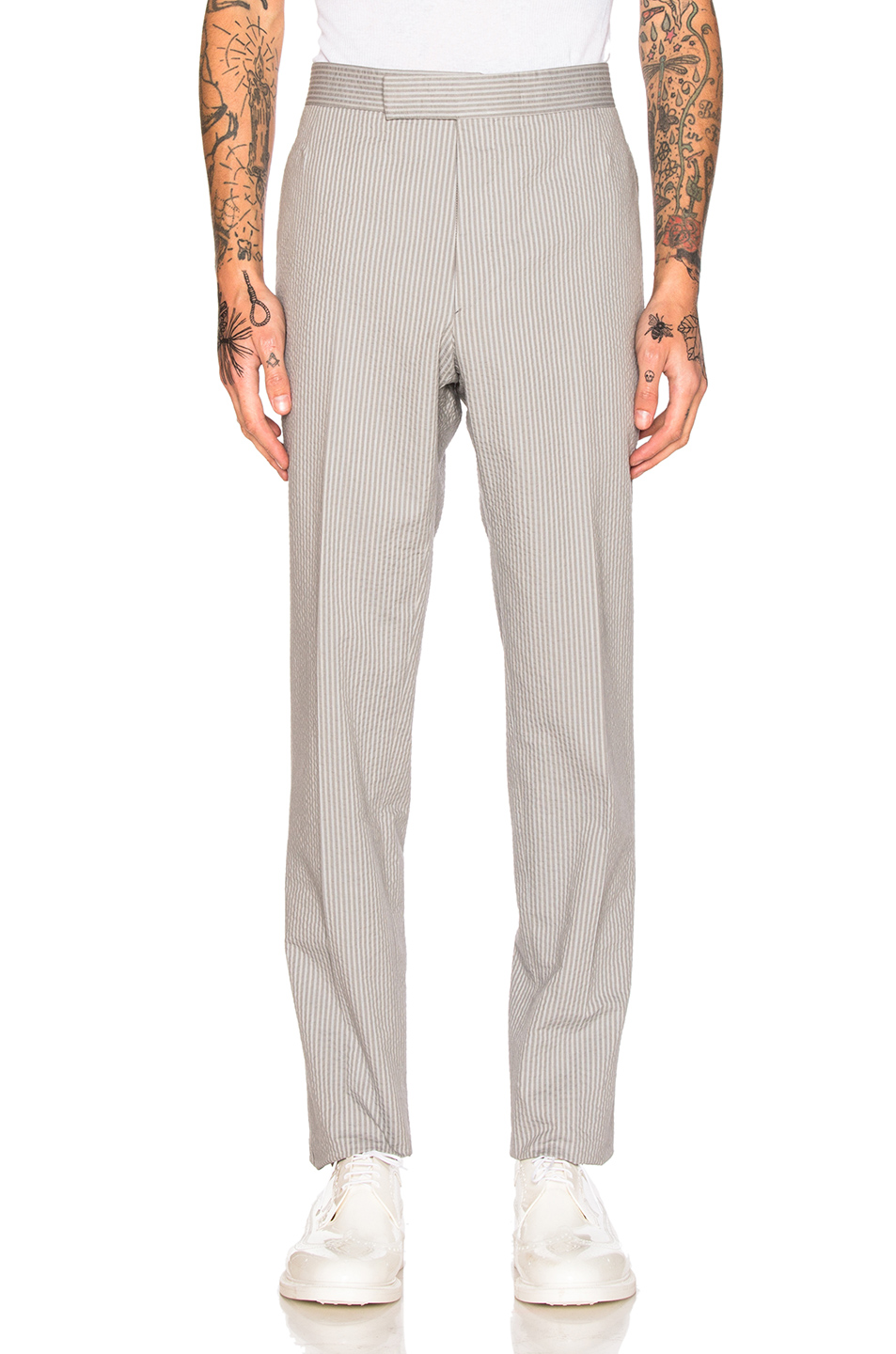 Thom Browne Classic Backstrap Trousers in Gray,Stripes