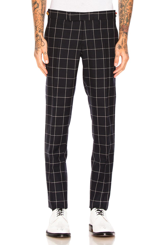 Thom Browne Windowpane Trousers in Blue,Checkered & Plaid