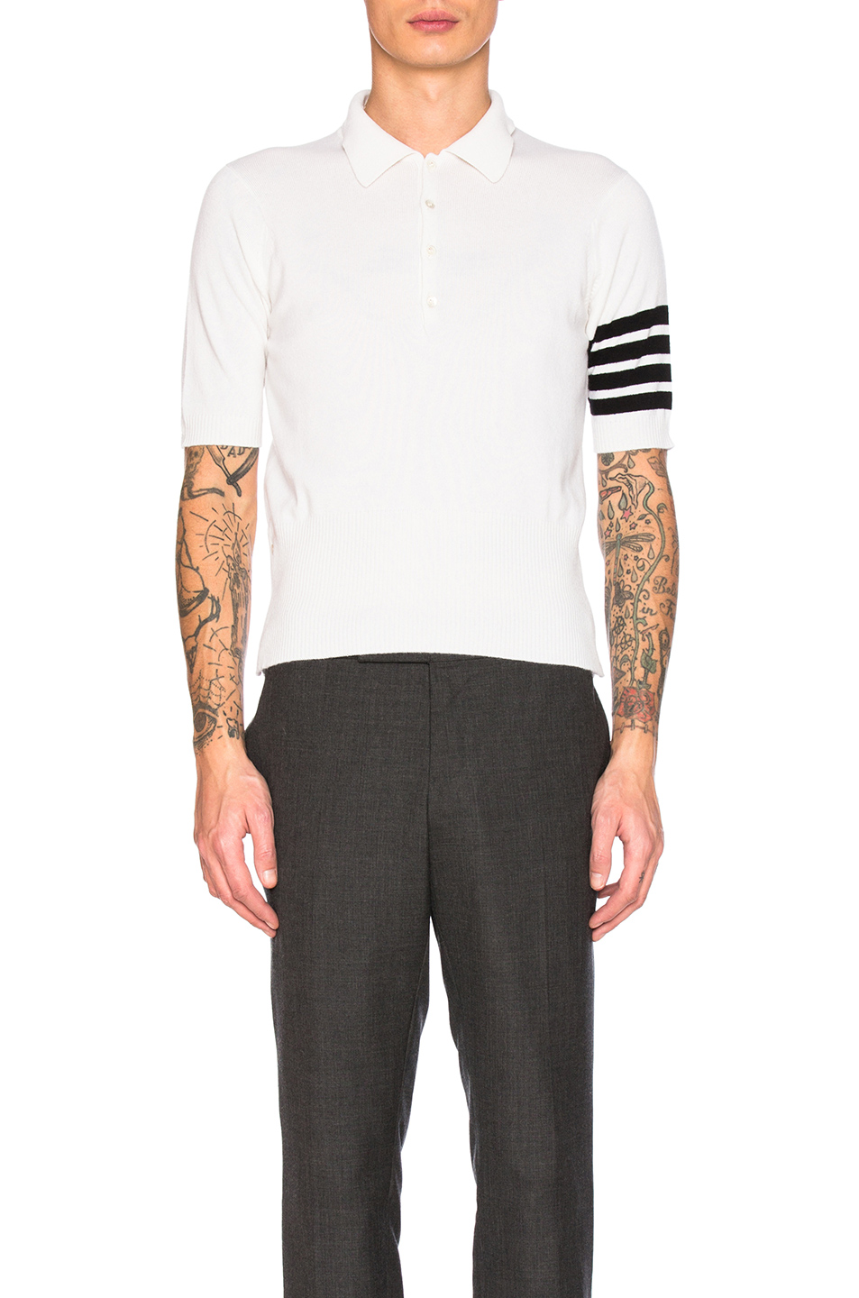 Thom Browne Cashmere Polo in White