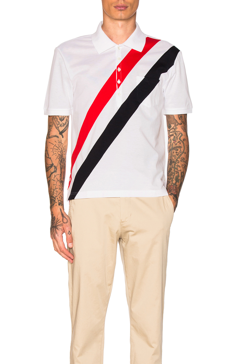Thom Browne Diagonal Stripes Polo in Blue,Red,Stripes,White