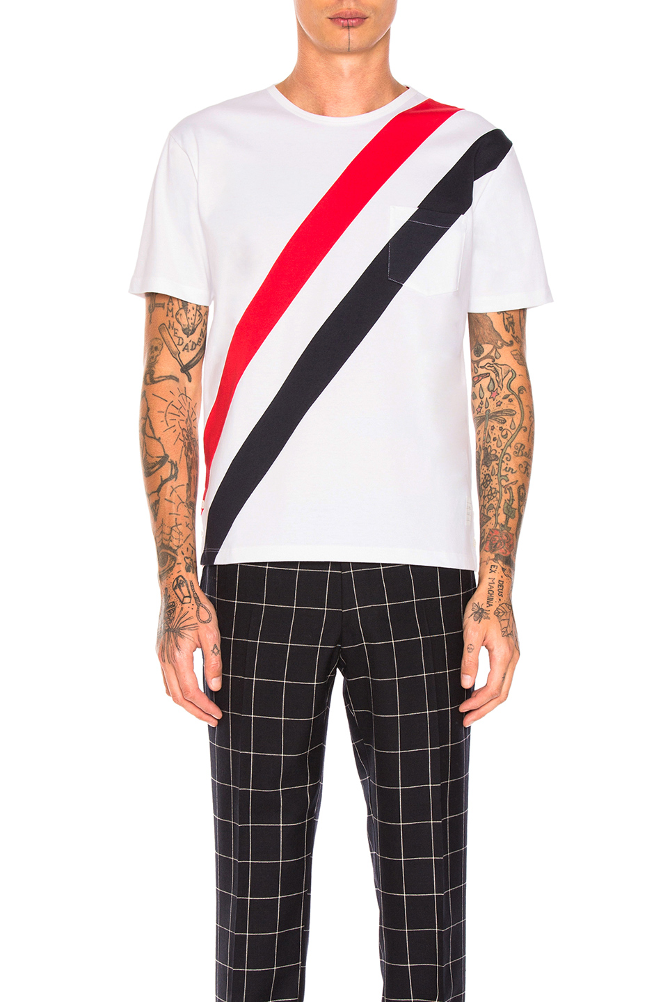 Thom Browne Diagonal Stripes Tee in White