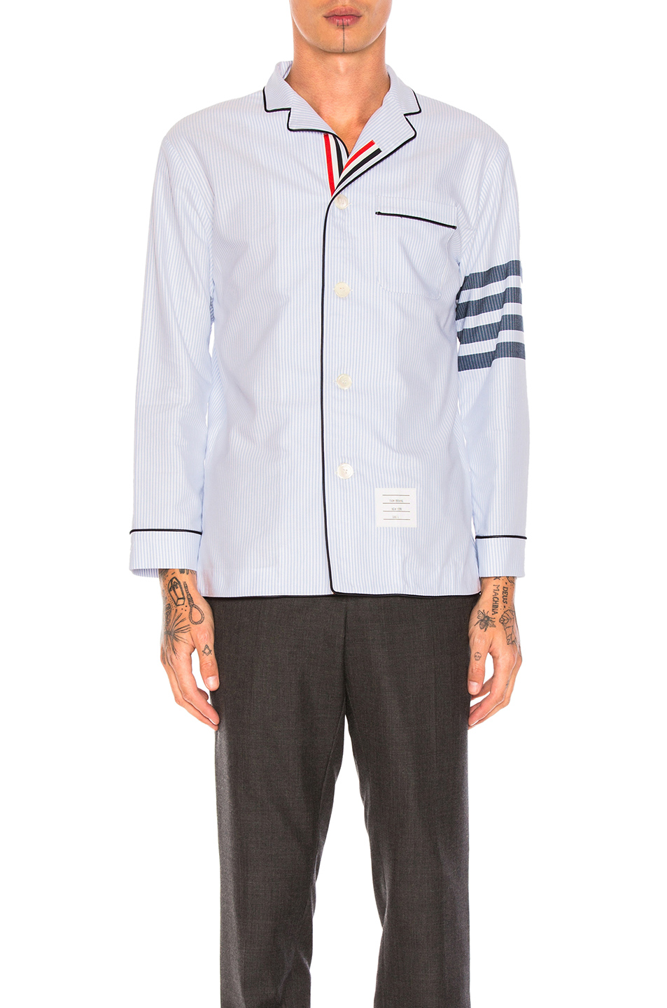 Thom Browne Oxford Pajama Shirt in Blue,Stripes