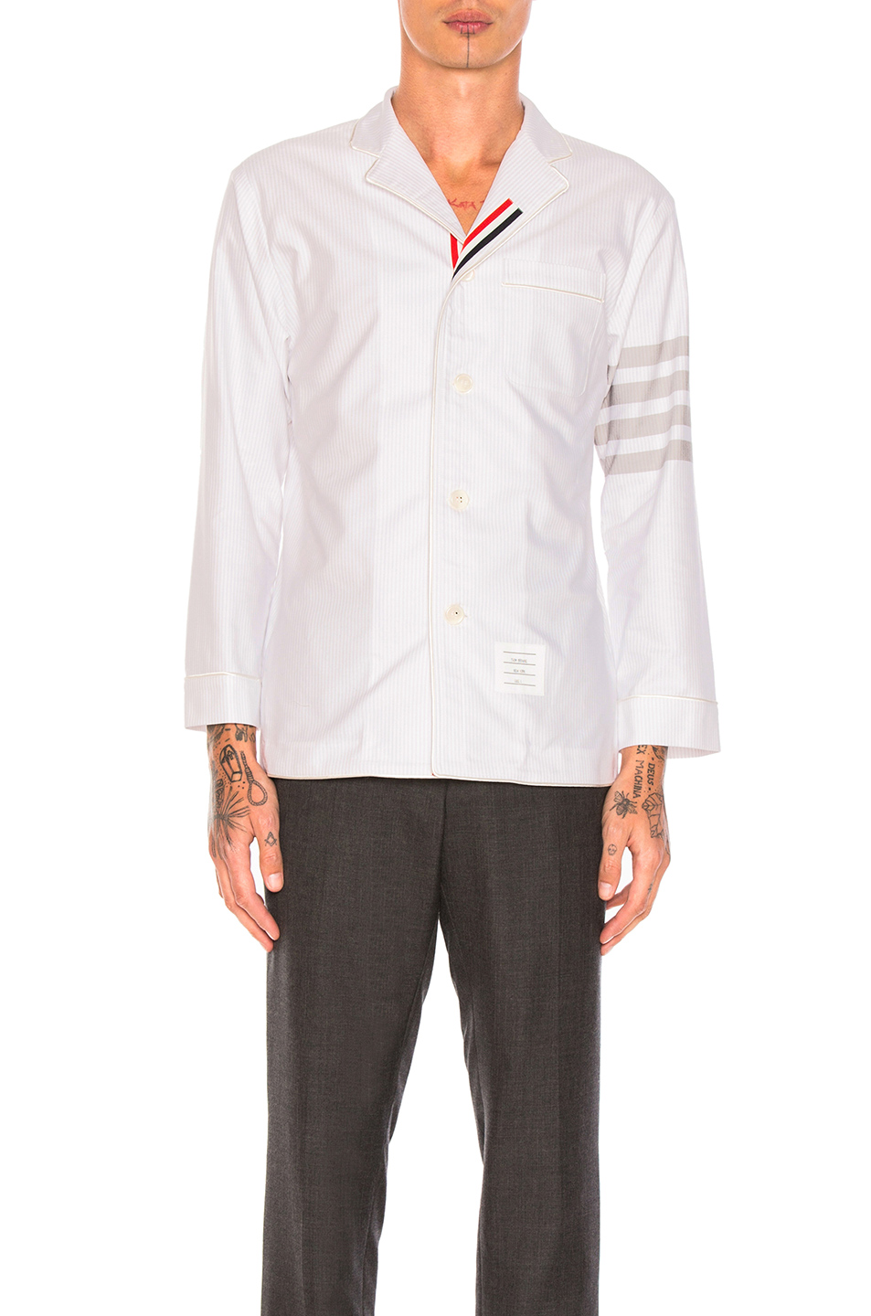 Thom Browne Oxford Pajama Shirt in Gray,Stripes