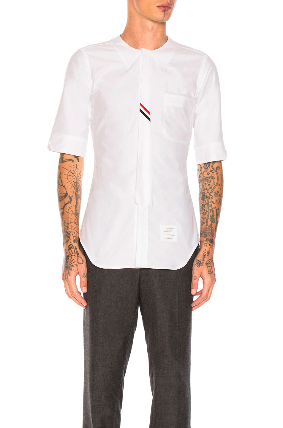Thom Browne Collarless Short Sleeve Oxford in White