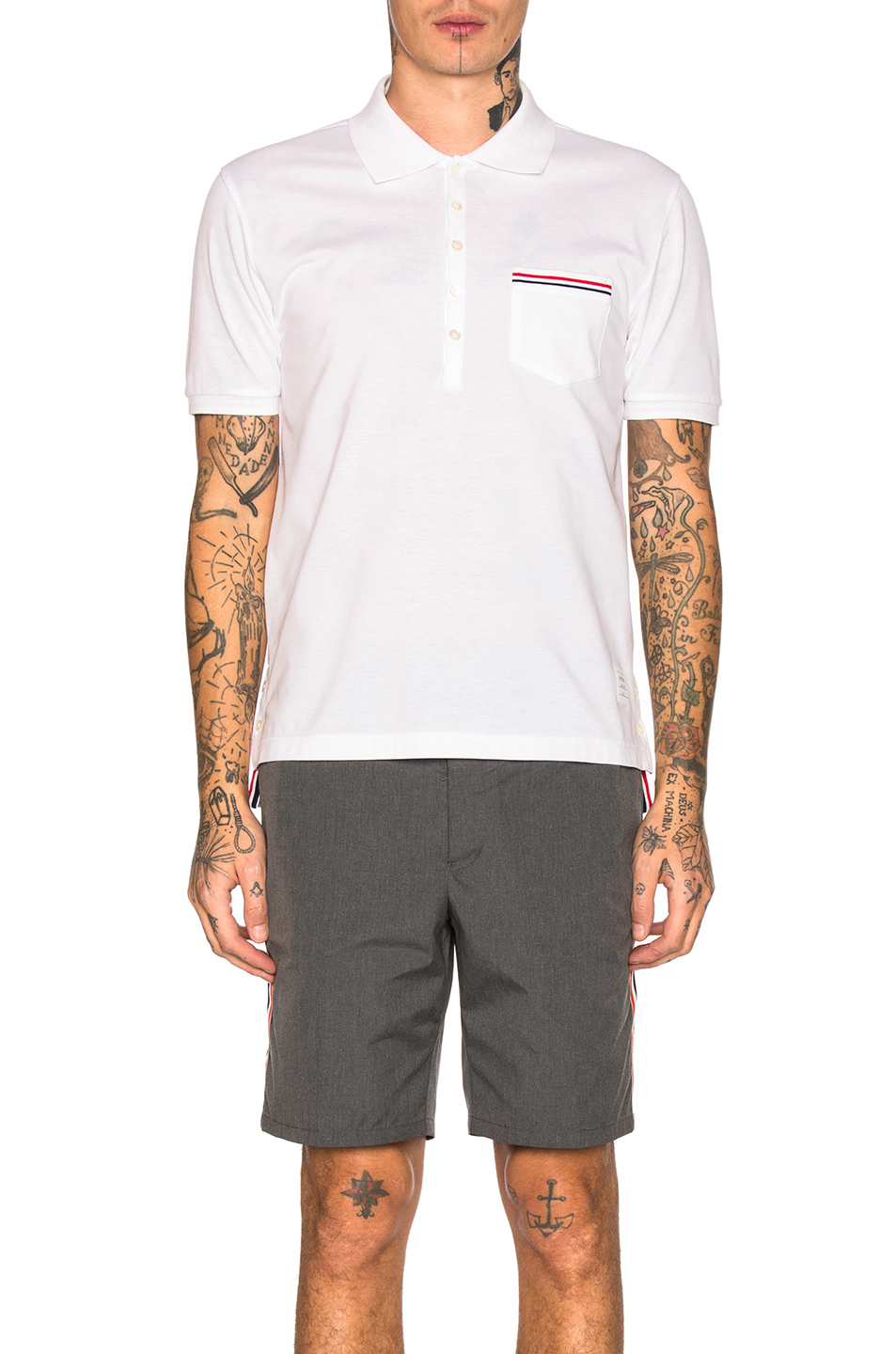 Photo of Thom Browne Short Sleeve Polo Shirt in White - shop Thom Browne menswear