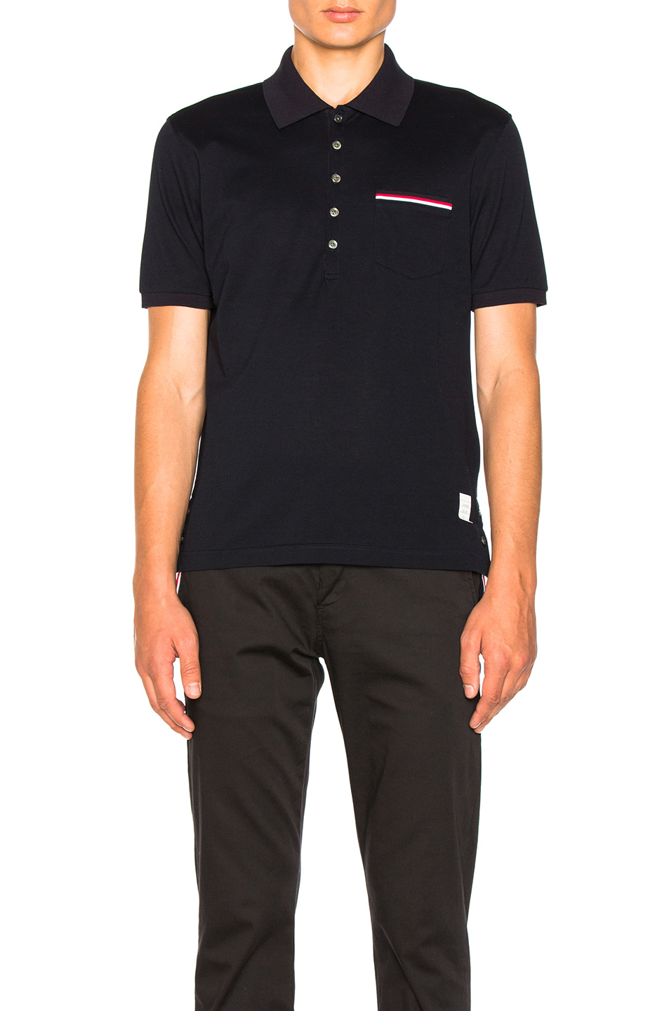 Thom Browne Short Sleeve Polo Shirt in Blue