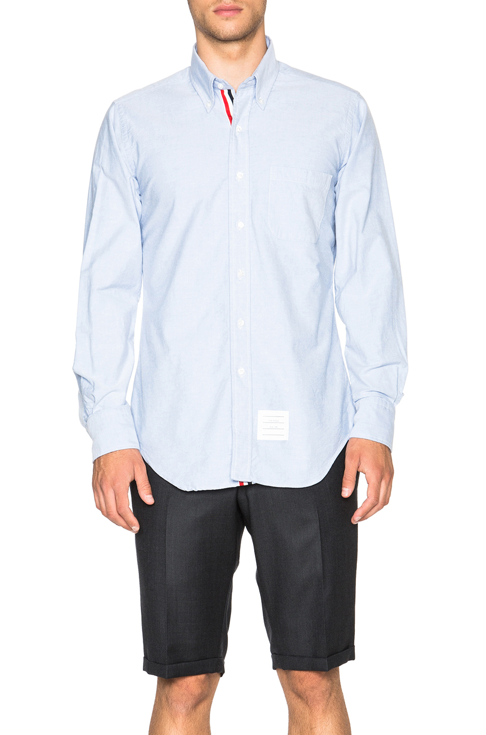 Thom Browne Classic Cotton Button Down with Ribbon Placket in Blue