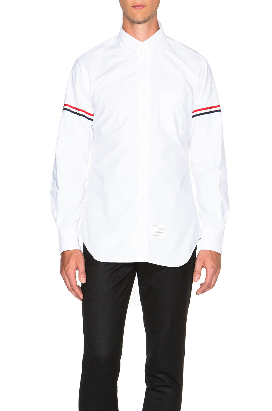 Thom Browne Classic Button Down with Grosgrain Armbands in White