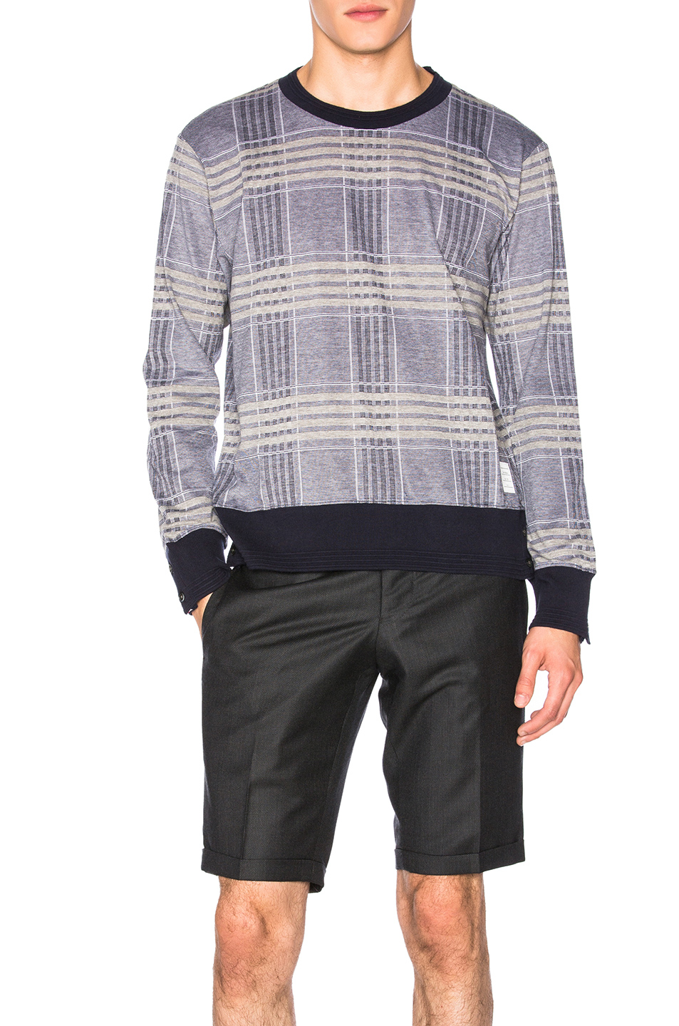 Thom Browne Oversize Check Pique Long Sleeve Tee in Blue,Checkered & Plaid