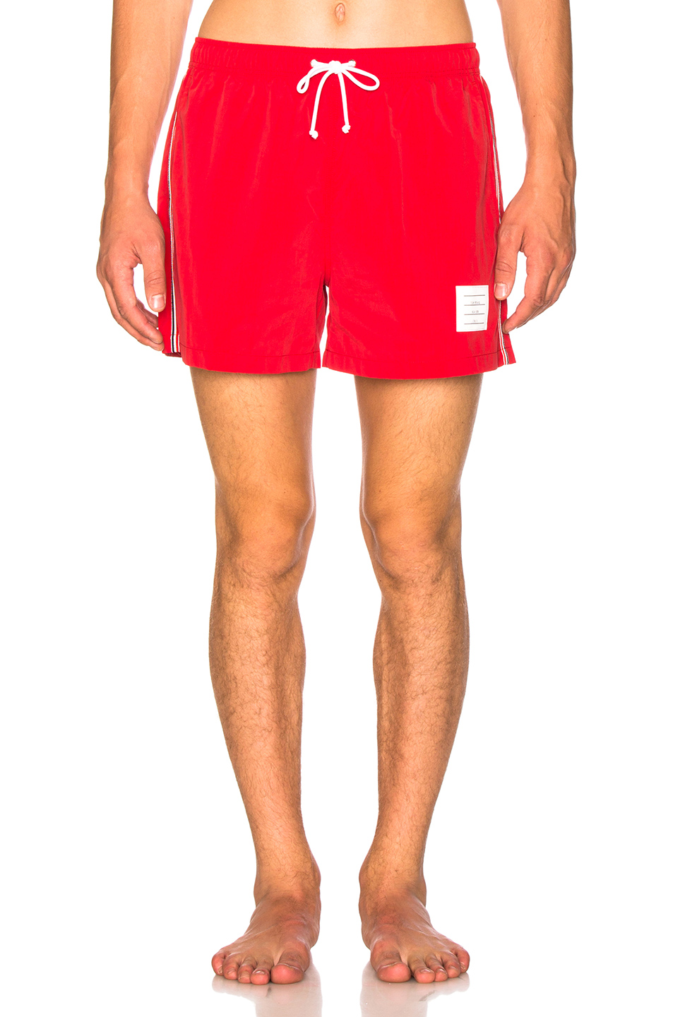 Thom Browne Classic Brushed Finish Swim Trunk in Red