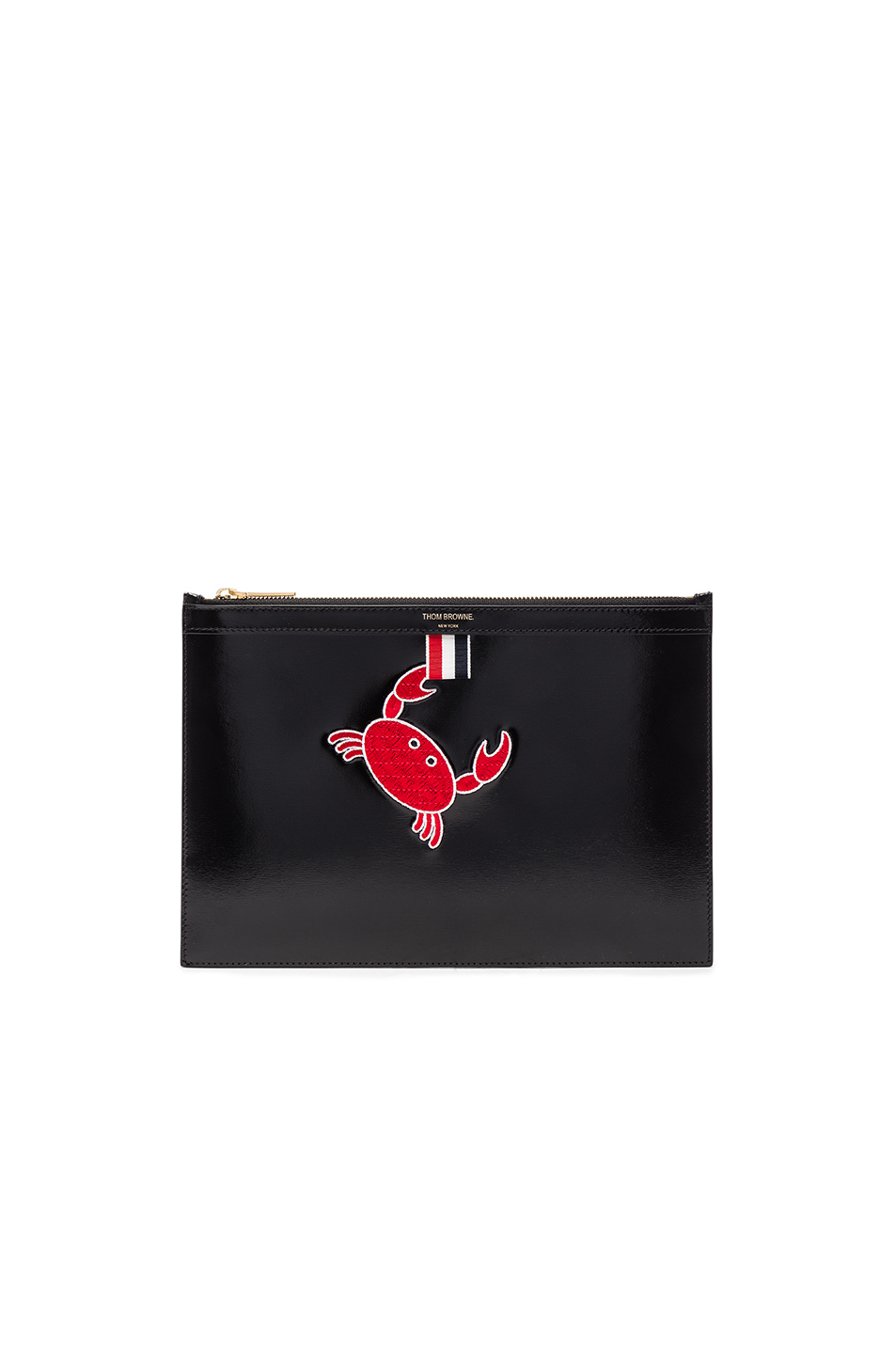 Thom Browne Embroidered Small Zipper Tablet Holder in Black
