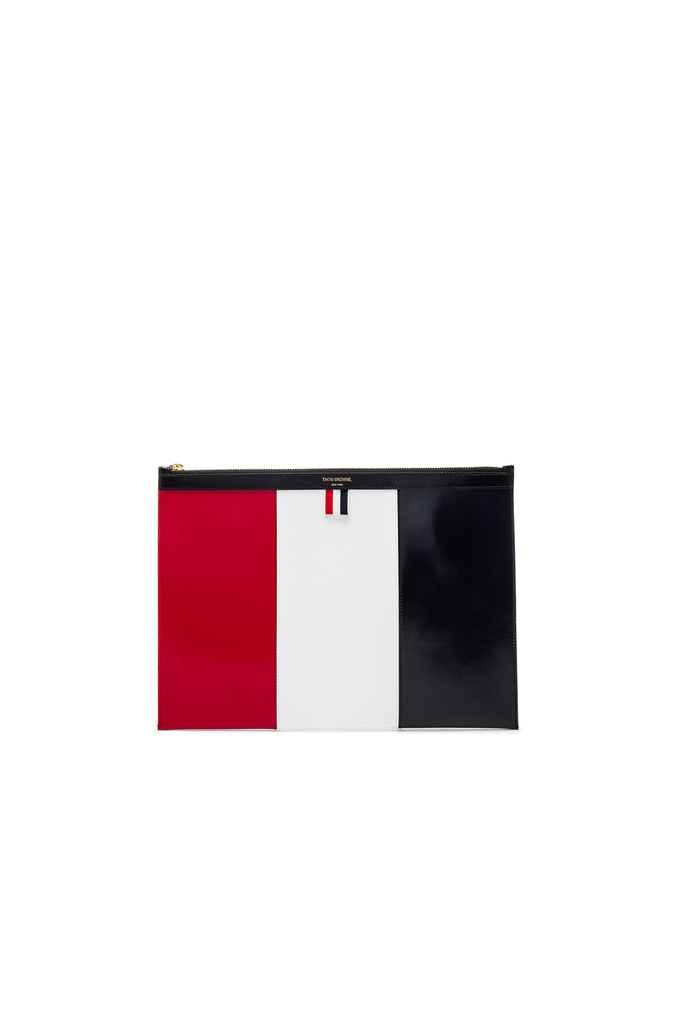 Thom Browne Medium Zippered Document Holder in Blue,Red,White