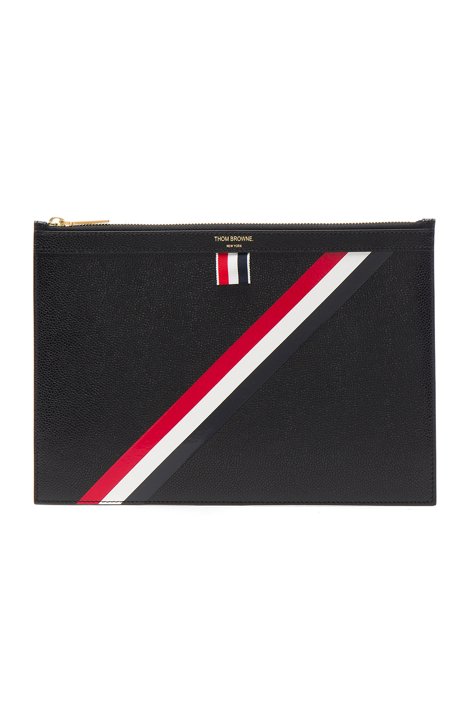 Thom Browne Small Zipper Tablet Holder in Black