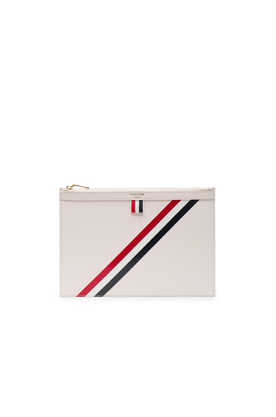 Thom Browne Small Zipper Tablet Holder in White