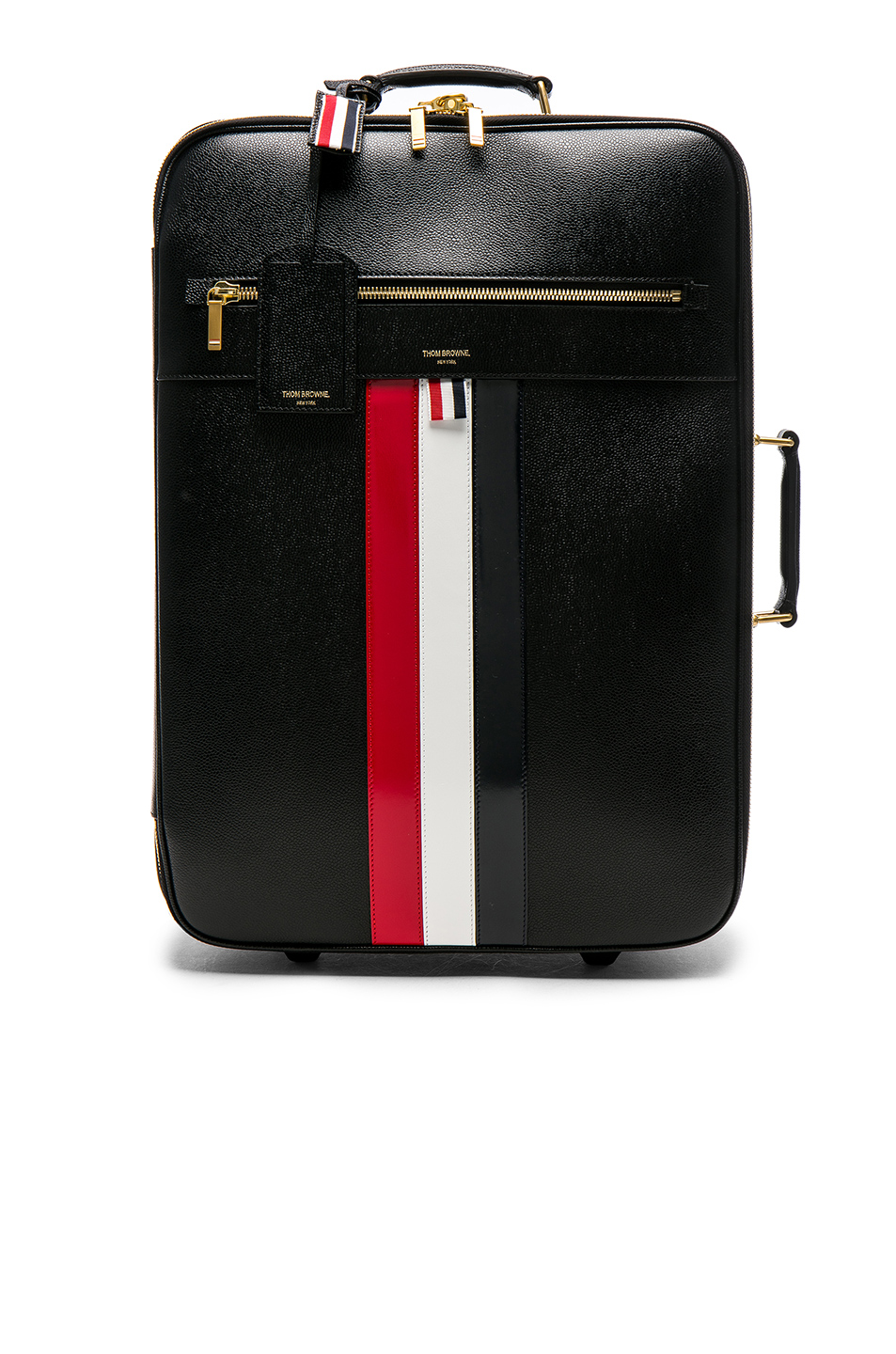 Thom Browne Pebble Grain & Calf Leather Wheeled Travel Bag in Black