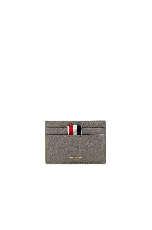 Thom Browne Pebble Grain Single Cardholder in Gray