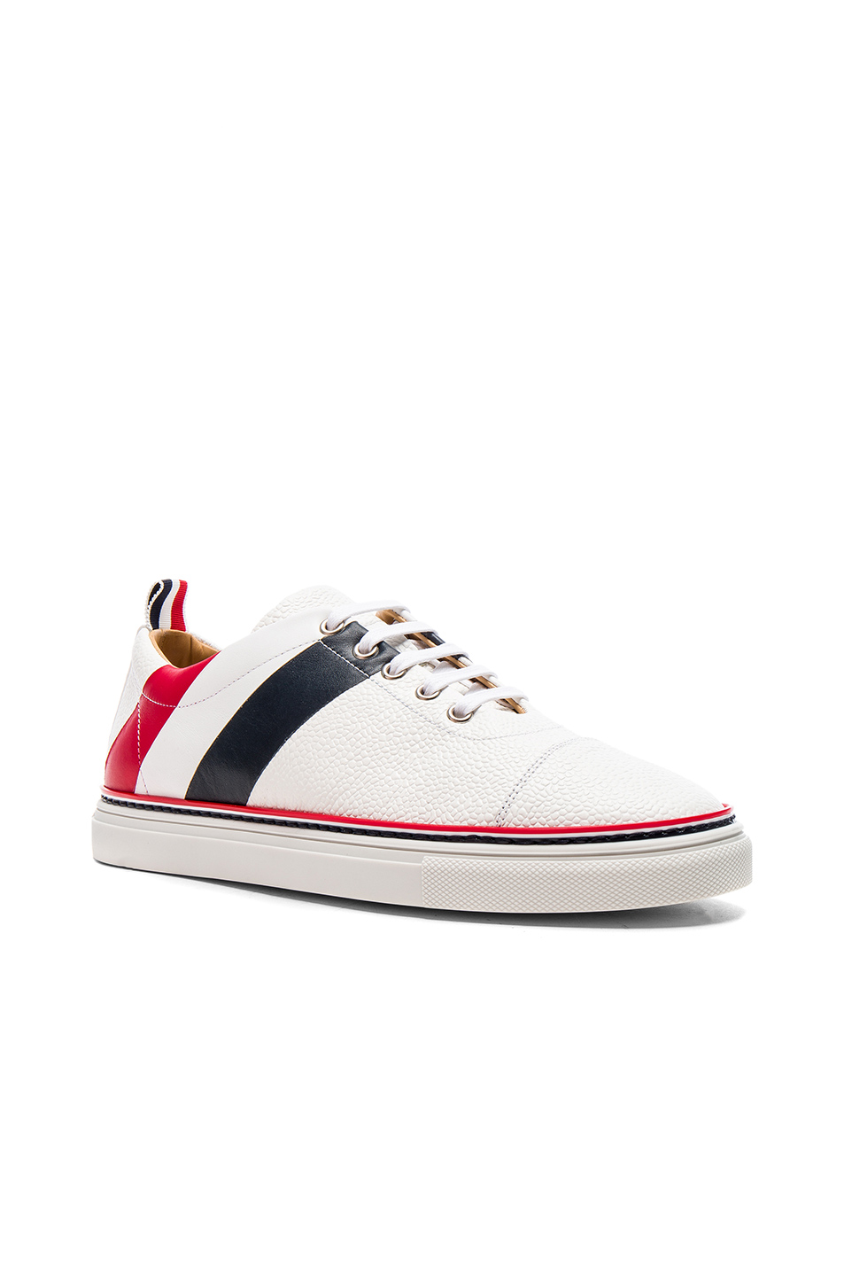 Thom Browne Pebble Grain & Calf Leather Straight Toe Cap Sneakers in White