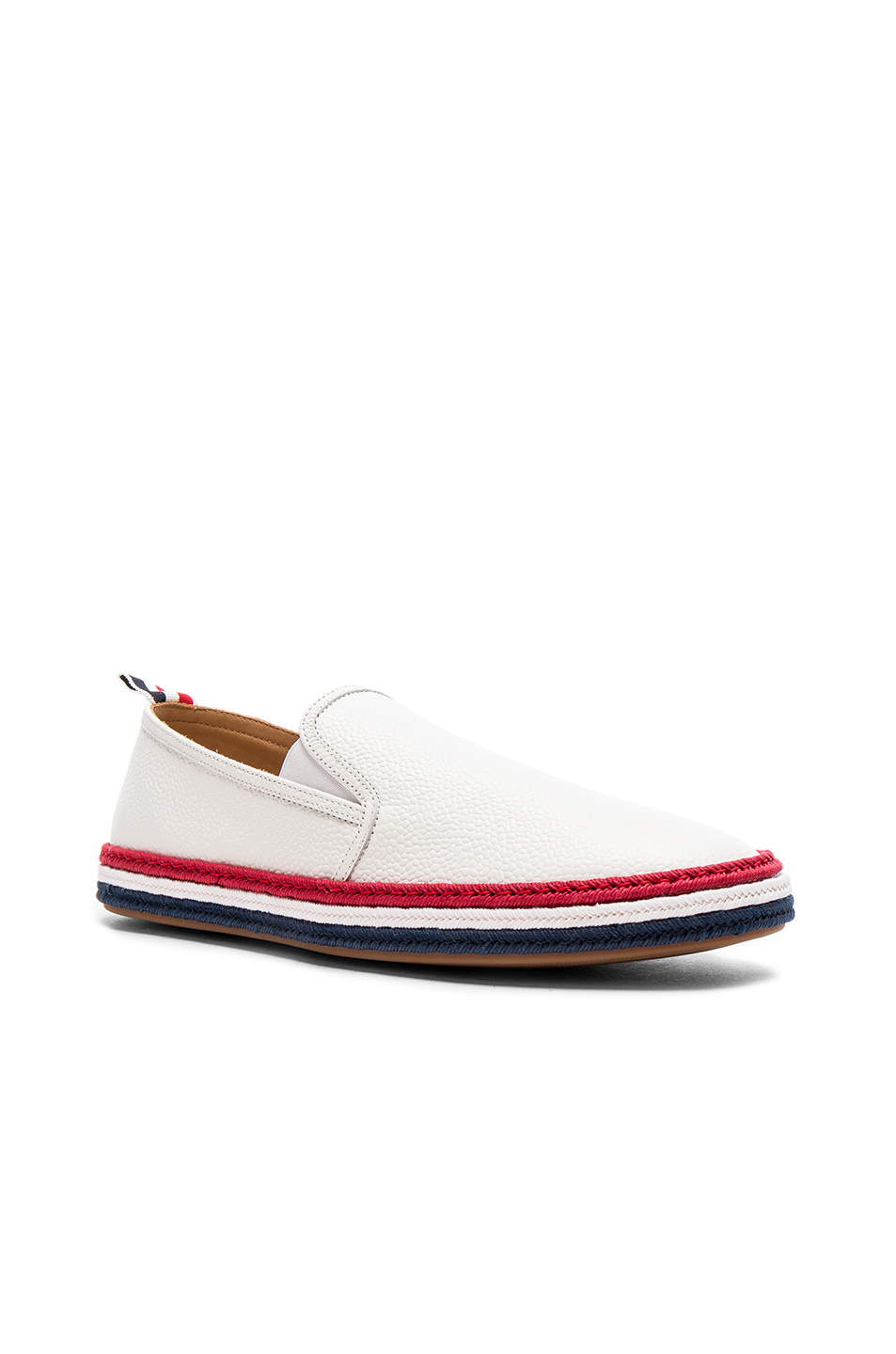 Thom Browne Pebble Grain Leather Espadrilles in White