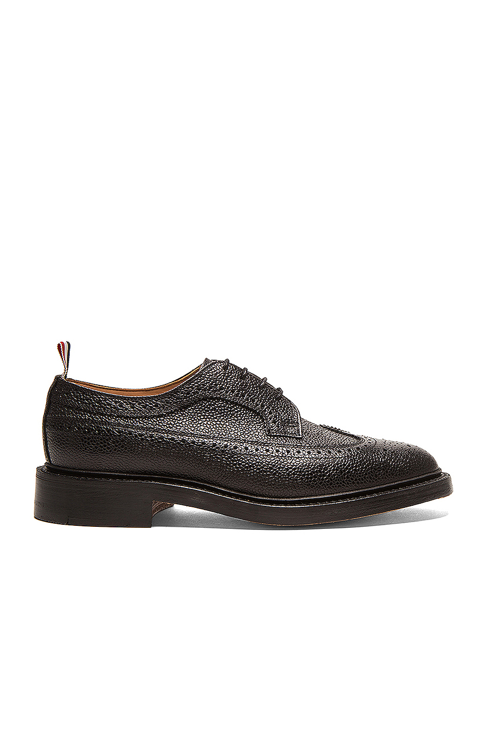 Thom Browne Classic Long Leather Wingtips in Black